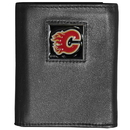 Siskiyou Buckle HTR60BX Calgary Flames? Deluxe Leather Tri-fold Wallet