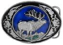 Siskiyou Buckle I5E Elk with Scroll Enameled Belt Buckle