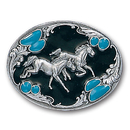 Siskiyou Buckle J7AE Horses with Turquoise Stones Enameled Belt Buckle