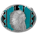 Siskiyou Buckle J92E Indian Chief with Turquoise - Enameled Belt Buckle
