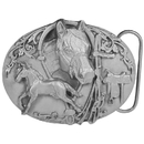 Siskiyou Buckle Horses with Tack Antiqued Belt Buckle, K80