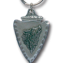 Siskiyou Buckle KR159E Key Ring - Wolf On Arrowhead