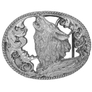 Siskiyou Buckle L2CD Howling Wolf Antiqued Belt Buckle
