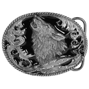 Siskiyou Buckle L2D Howling Wolf (Diamond Cut) Enameled Belt Buckle