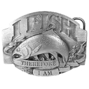 Siskiyou Buckle I Fish Therefore I Am Antiqued Belt Buckle, L8