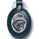 Siskiyou Buckle LKF1E Leather Keychain - Fishing