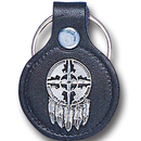 Siskiyou Buckle LKS16 Leather Keychain - Shield & Feathers