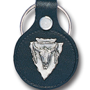 Siskiyou Buckle LKS51 Leather Keychain - Buffalo Skull
