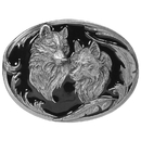 Siskiyou Buckle O3D Two Wolves (Diamond Cut) Enameled Belt Buckle