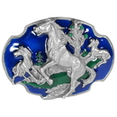 Siskiyou Buckle P80E Wild Horses - Enameled Belt Buckle