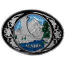 Siskiyou Buckle Q5E Alaska with Western Scroll Enameled Belt Buckle