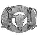 Siskiyou Buckle Q7CD Buffalo Skull/Eagles (Diamond Cut) Antiqued Belt Buckle