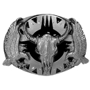 Siskiyou Buckle Q7D Buffalo Skull/Eagles (Diamond Cut) Enameled Belt Buckle