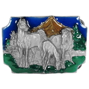 Siskiyou Buckle Q85E Horses Grazing Enameled Belt Buckle