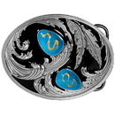 Siskiyou Buckle R2DE Turquoise Stones with Scroll - Enameled Belt Buckle