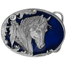 Siskiyou Buckle R3E Horse Head and Feather Enameled Belt Buckle