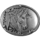 Siskiyou Buckle R3 Horse Head and Feather Antiqued Belt Buckle