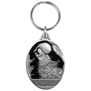 Siskiyou Buckle Wyoming Wolf Metal Key Chain with Enameled Details, RK312E
