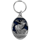 Siskiyou Buckle Wyoming Elk Metal Key Chain with Enameled Details, RK316E
