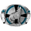 Siskiyou Buckle S7E Southwest Wolf Enameled Belt Buckle