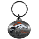 Siskiyou Buckle SFK021 Denver Broncos Oval Carved Metal Key Chain
