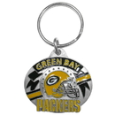 Siskiyou Buckle SFK117 Green Bay Packers Oval Carved Metal Key Chain