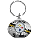 Siskiyou Buckle SFK161 Pittsburgh Steelers Oval Carved Metal Key Chain