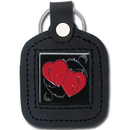 Siskiyou Buckle SLS23 Sq. Leather Keychain - - Double Heart