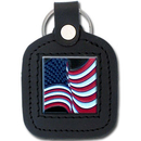 Siskiyou Buckle SLS24 Sq. Leather Keychain - - US Flag