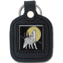 Siskiyou Buckle SLS25 Sq. Leather Keychain - - Howling Wolf