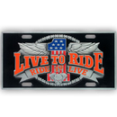 Siskiyou Buckle SVP4 Live to Ride - 3D License Plate
