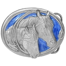 Siskiyou Buckle U10E Two Horse Heads - Enameled Belt Buckle