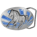 Siskiyou Buckle U15E Running Horse with Sun - Enameled Belt Buckle