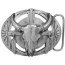 Siskiyou Buckle U40CD Buffalo Skull/Feathers Antiqued Belt Buckle