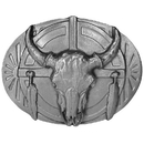 Siskiyou Buckle U40 Belt Buckle - Buffalo Skull/Feathers