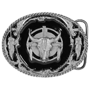 Siskiyou Buckle Y2D Buffalo Skull/Feathers - Enameled Belt Buckle