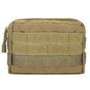Tactical Molle Pouch, Horizontal Admin Pouch Small Utility EDC Gear Tool Bag, 2 American Flag Patches Optional