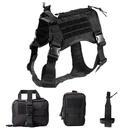 Tactical Service Dog Harness, Dog Training Vest Pet Harness with Molle Pouches and Bottle Holder