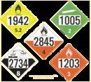 De Leone SDP400 Preprinted 4-digit placard (tagboard), Hazardous Materials Placards