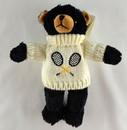 Tennis Black Bear w/White Sweater (9″)