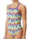 The Finals 7937A Women'S Rainbow Roar Non Foil Funnies Flutterback Swimsuit