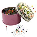 TeeVoo 500PCS Sewing Pins 1.5 Inch Multicolor Glass Ball Head Pins with Pincushion Metal Storage Box