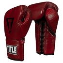 TITLE Boxing Blood Red Leather Sparring Gloves