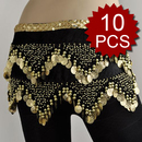 Wholesale Lot 10 Belly Dance Wave Shape Gold Coin Hip Scarf