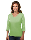Tri-Mountain 131 Mystique Women's cotton interlock 3/4 sleeve v-neck knit