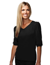 Tri-Mountain 137 Torrance Women's Cotton/Poly 60/40 V Neck Knit Shirt, w/ gathering @ Yoke/Cuff/Shoulder