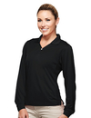 Tri-Mountain 656 Eclipse Women's Poly UltraCool pique y-neck long sleeve golf shirt, Embroidery