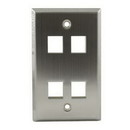 4 Port Stainless Steel Wall Plate, FPQUAD-SS