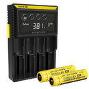 Nitecore D4 Charger w/ 2x NL189 3400mAh 18650 Batteries - High Capacity
