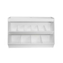 TrippNT White PVC Lab Storage with 10 Fixed Bins and 1 Shelf with Optional Acrylic Door in 6 Colors: 24 x 16 x 11 inches WHD